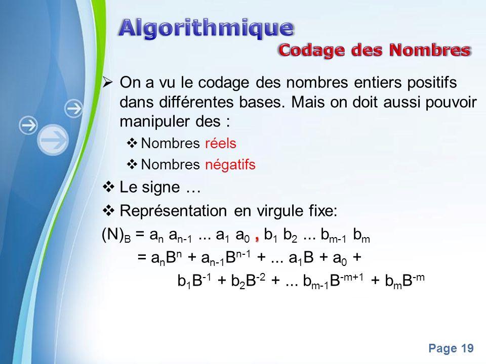 Algorithmique Codage des Nombres