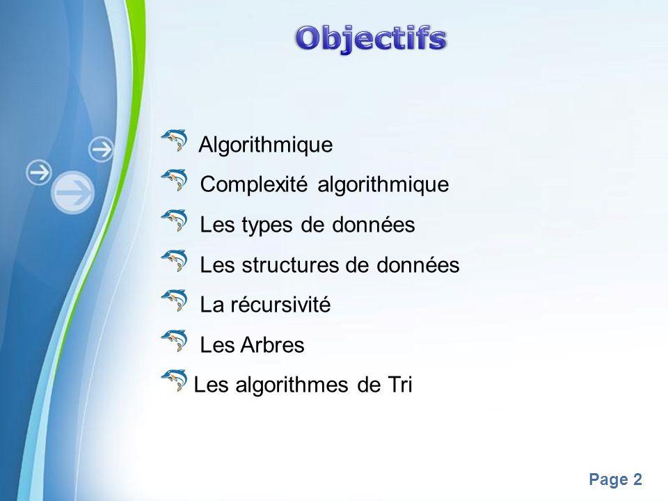 Objectifs Algorithmique Complexité algorithmique Les types de données