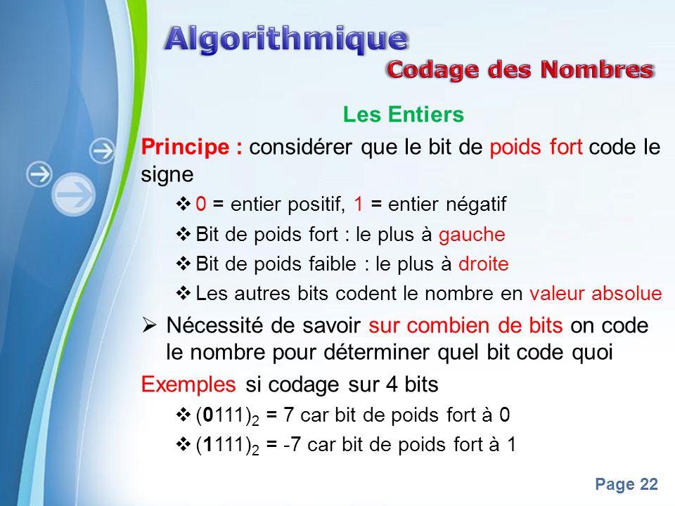 Algorithmique Codage des Nombres Les Entiers