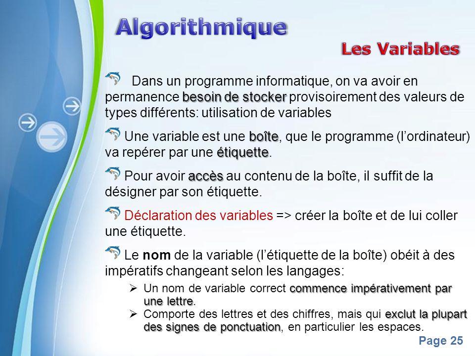 Algorithmique Les Variables