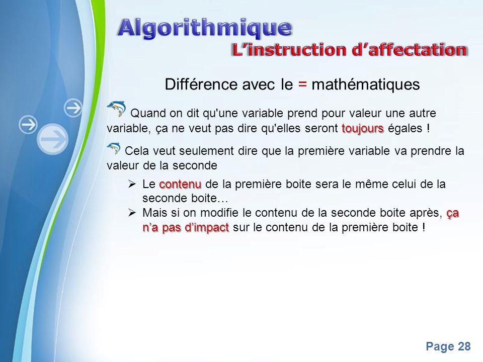 Différence avec le = mathématiques
