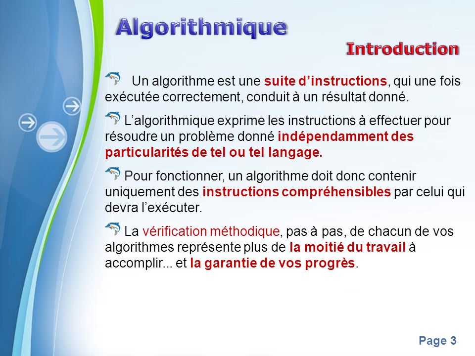 Algorithmique Introduction