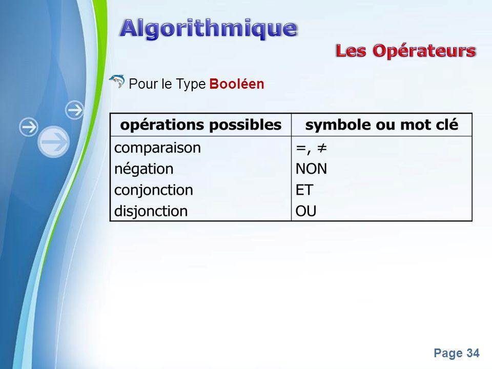 Algorithmique Les Opérateurs Pour le Type Booléen