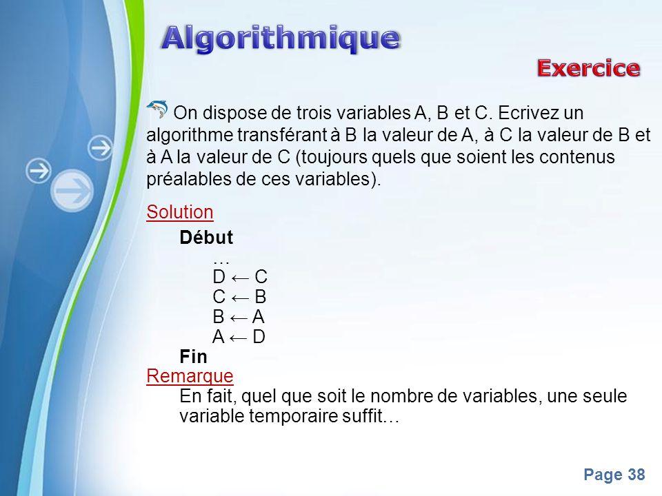 Algorithmique Exercice