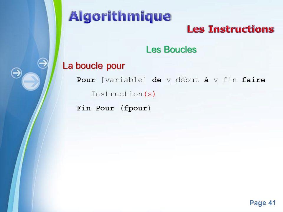 Algorithmique Les Instructions Les Boucles La boucle pour