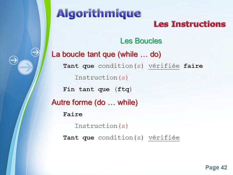 Algorithmique Les Instructions Les Boucles