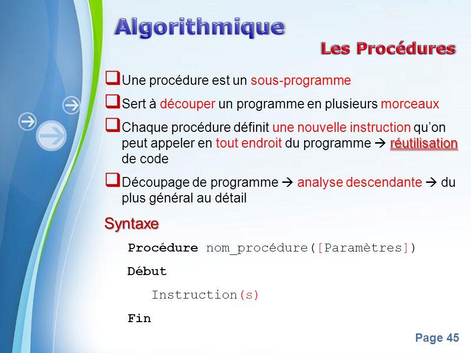 Algorithmique Les Procédures Syntaxe