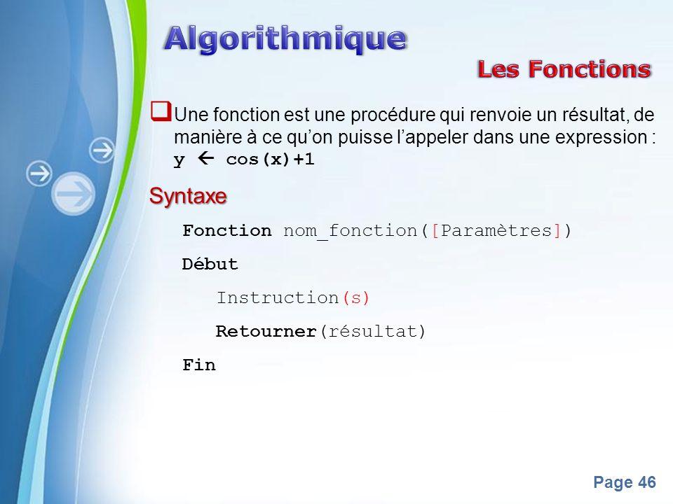 Algorithmique Les Fonctions Syntaxe