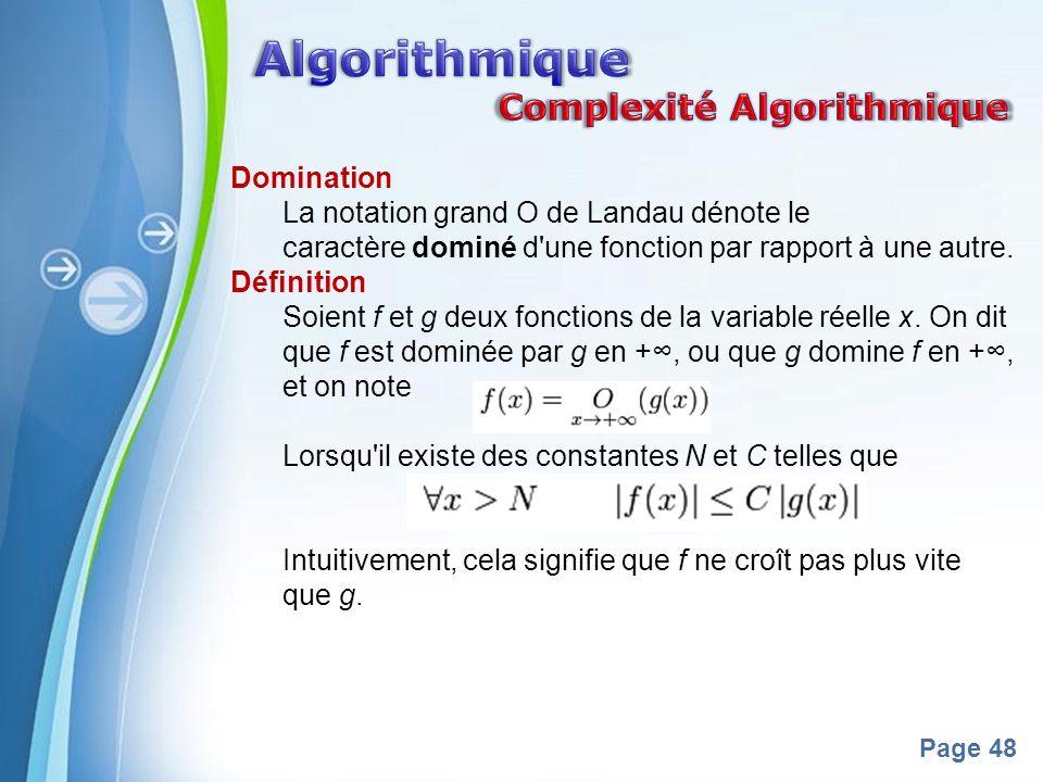 Algorithmique Complexité Algorithmique Domination