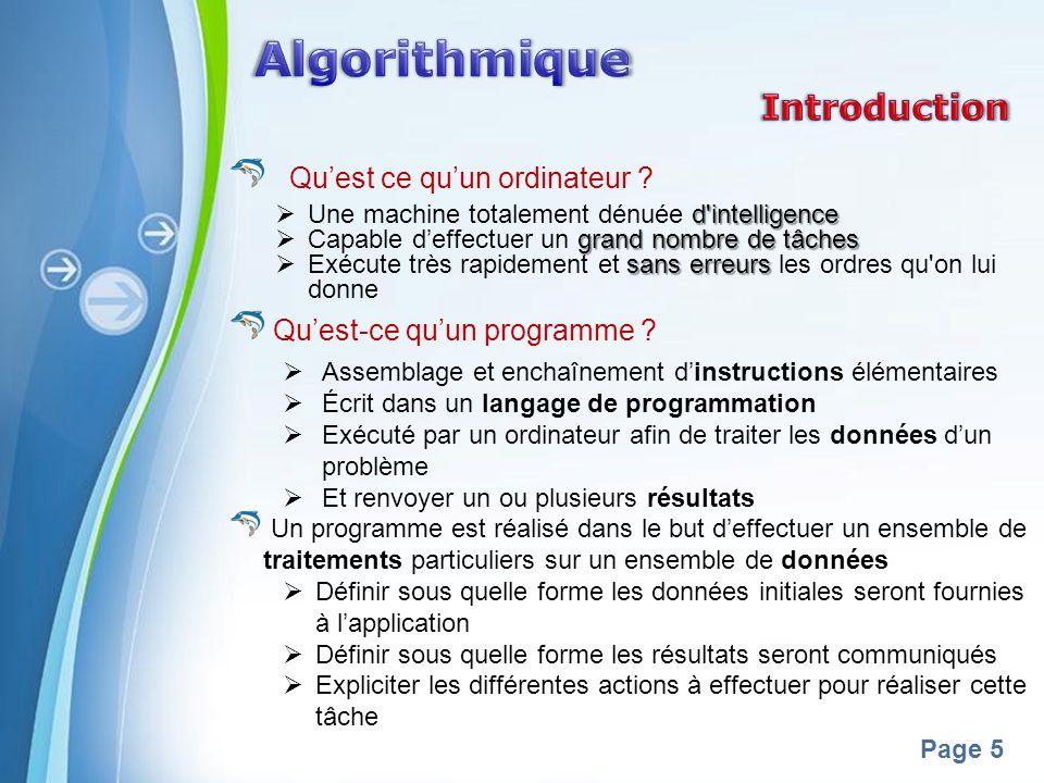 Algorithmique Introduction Qu'est ce qu'un ordinateur