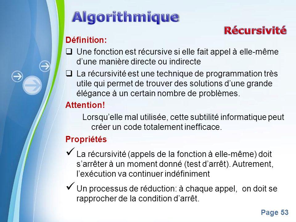 Algorithmique Récursivité Définition: