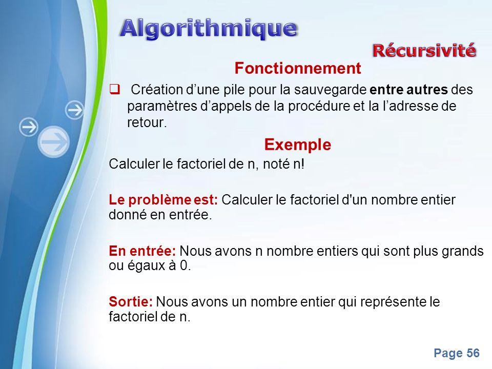 Algorithmique Récursivité Fonctionnement Exemple