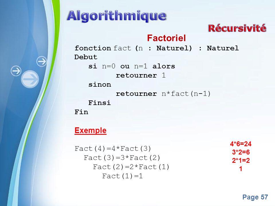 Algorithmique Récursivité Factoriel