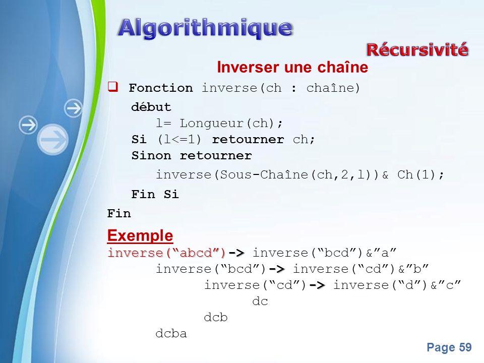 Algorithmique Récursivité Inverser une chaîne Exemple