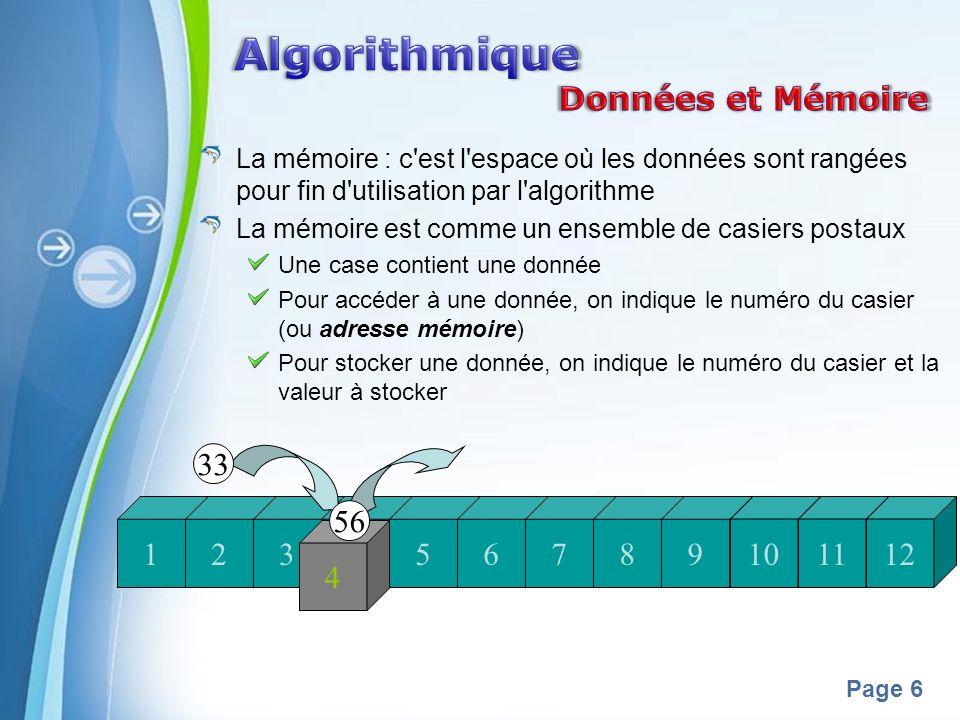 Algorithmique Données et Mémoire 33 1 2 3 4 56 5 6 7 8 9 10 11 12 4