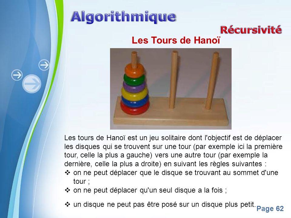 Algorithmique Récursivité Les Tours de Hanoï
