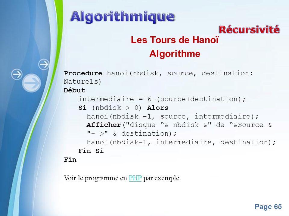 Algorithmique Récursivité Les Tours de Hanoï Algorithme