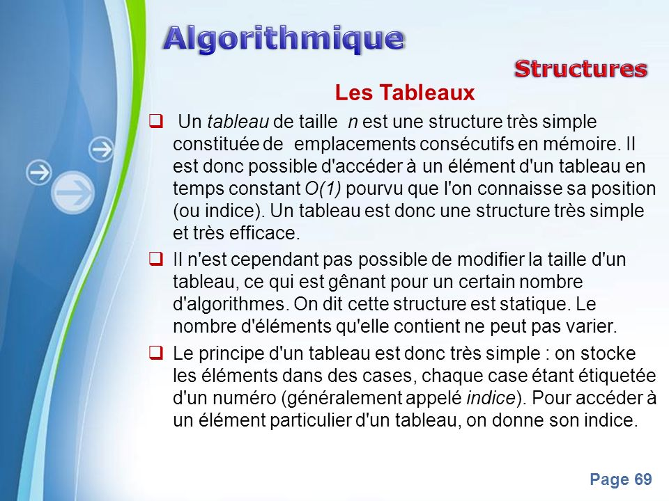 Algorithmique Structures Les Tableaux