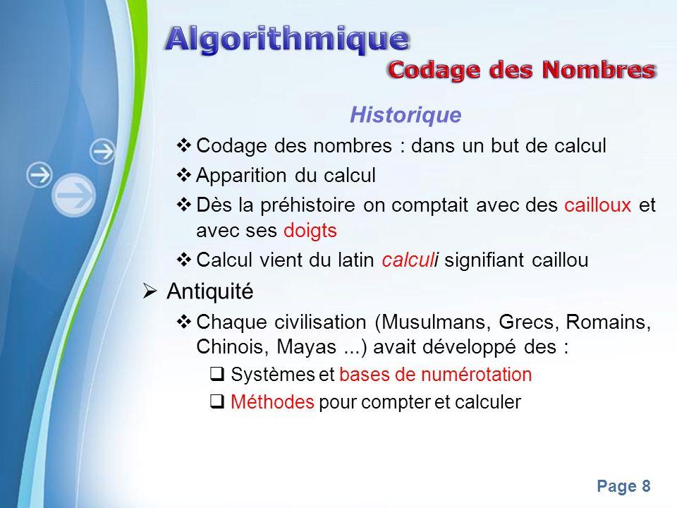 Algorithmique Codage des Nombres Historique Antiquité
