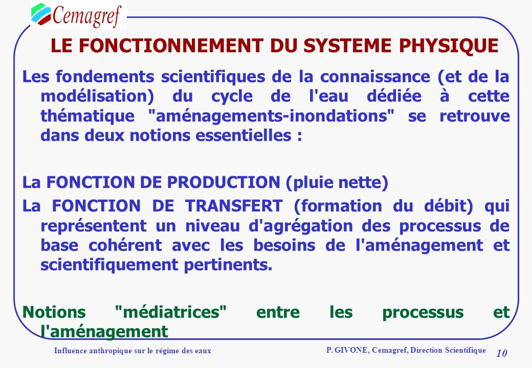 LE FONCTIONNEMENT DU SYSTEME PHYSIQUE