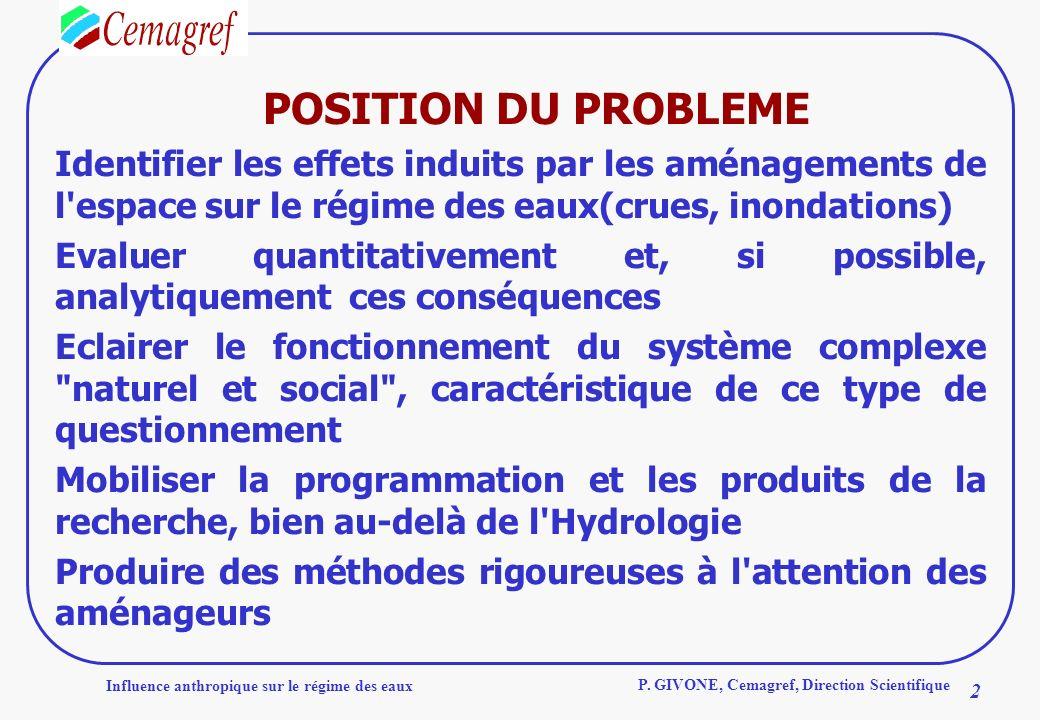 POSITION DU PROBLEME Identifier les effets induits par les aménagements de l espace sur le régime des eaux(crues, inondations)