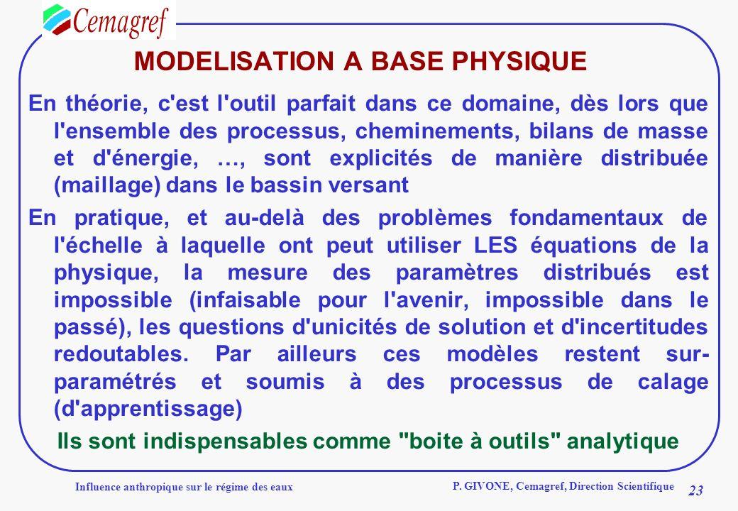 MODELISATION A BASE PHYSIQUE