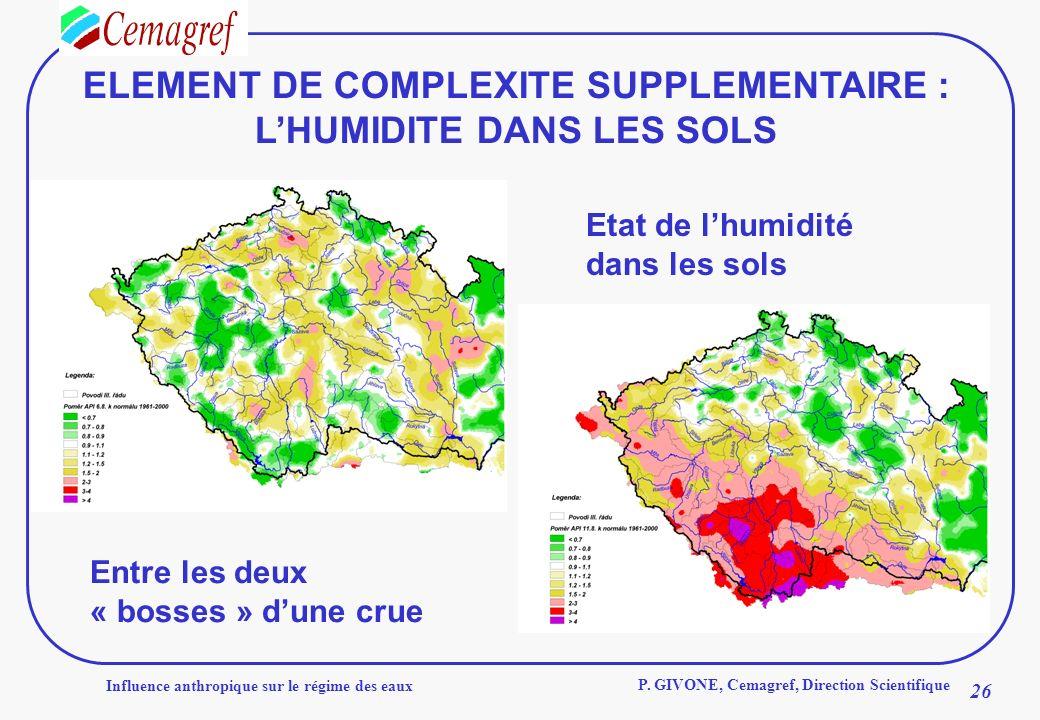 ELEMENT DE COMPLEXITE SUPPLEMENTAIRE : L'HUMIDITE DANS LES SOLS