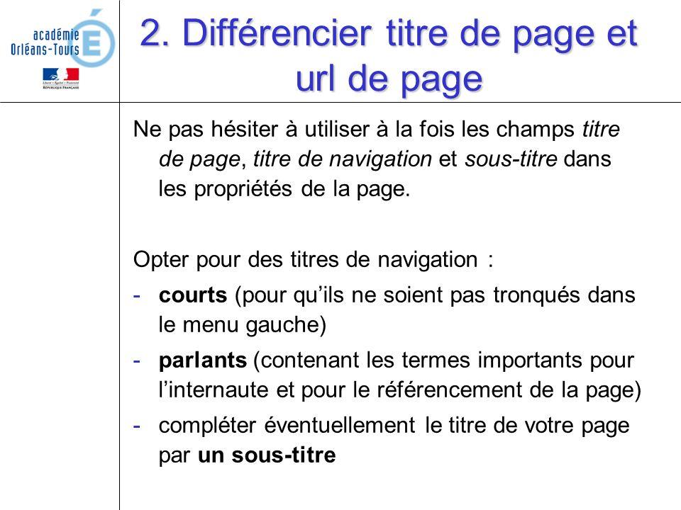 2. Différencier titre de page et url de page