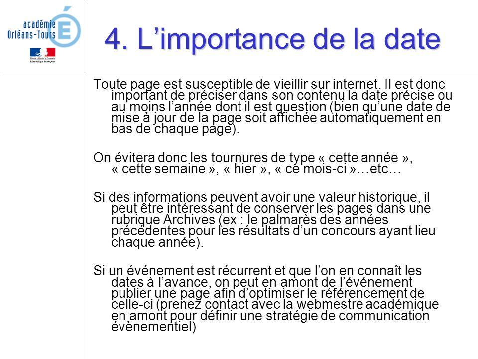 4. L'importance de la date