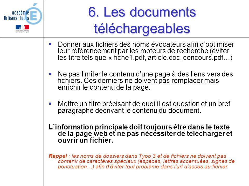 6. Les documents téléchargeables