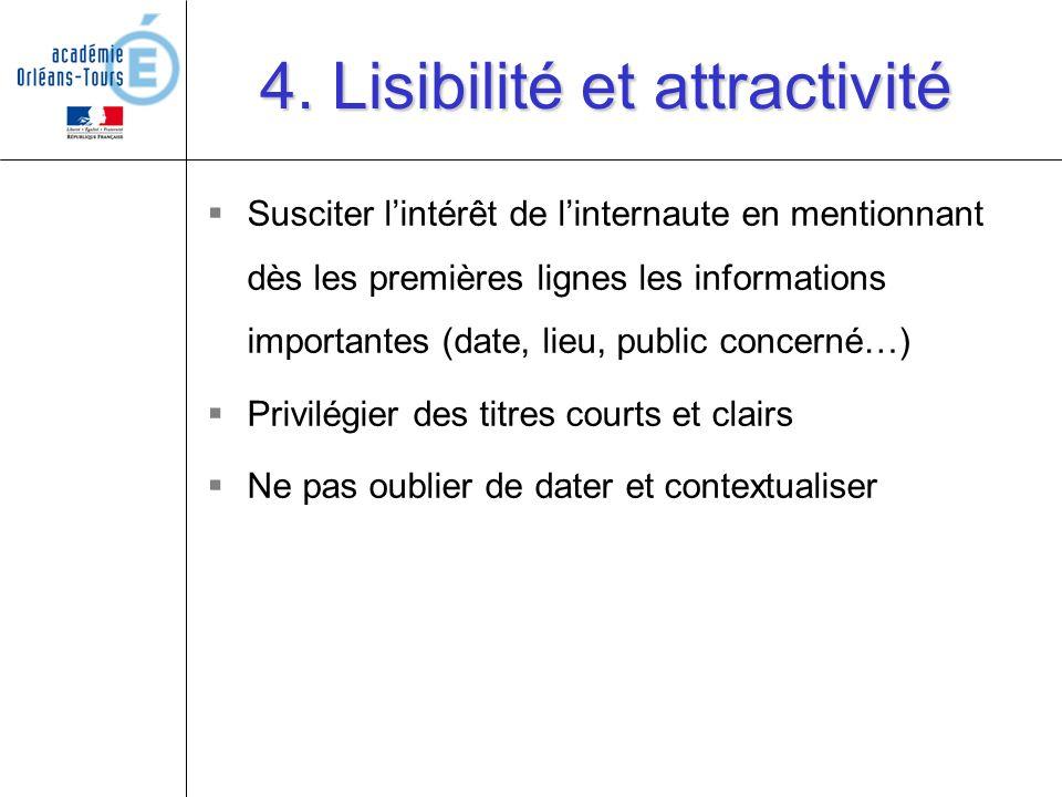 4. Lisibilité et attractivité