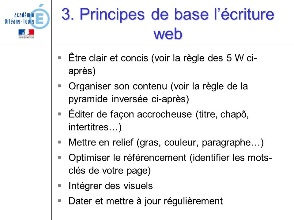 3. Principes de base l'écriture web