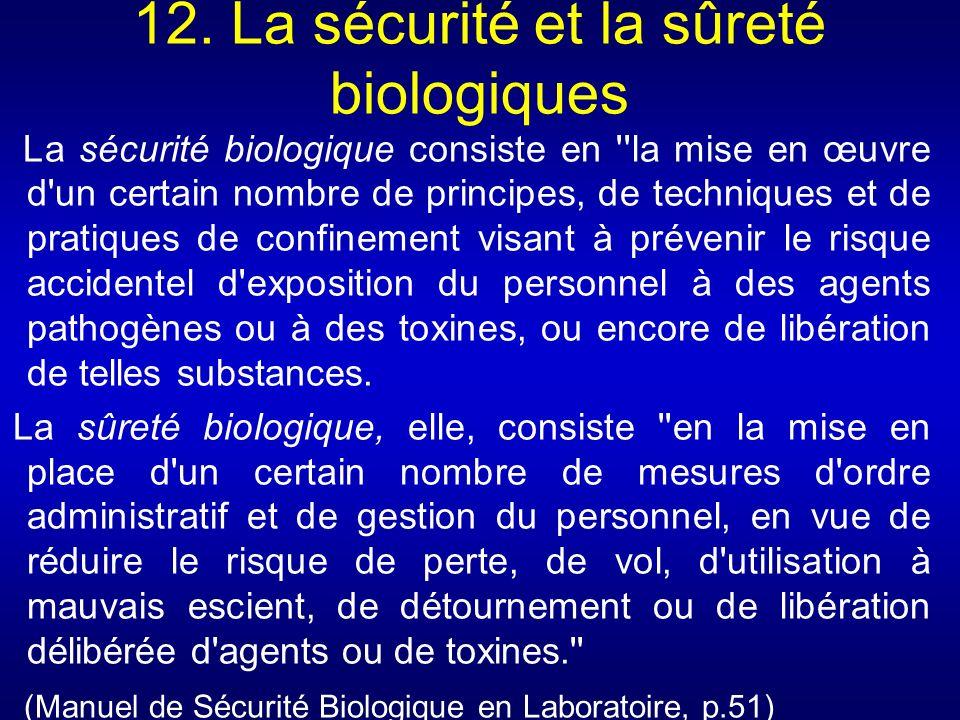 12. La sécurité et la sûreté biologiques