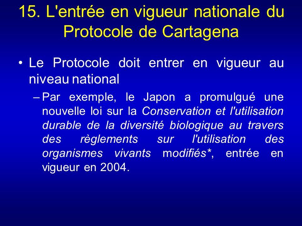 15. L entrée en vigueur nationale du Protocole de Cartagena