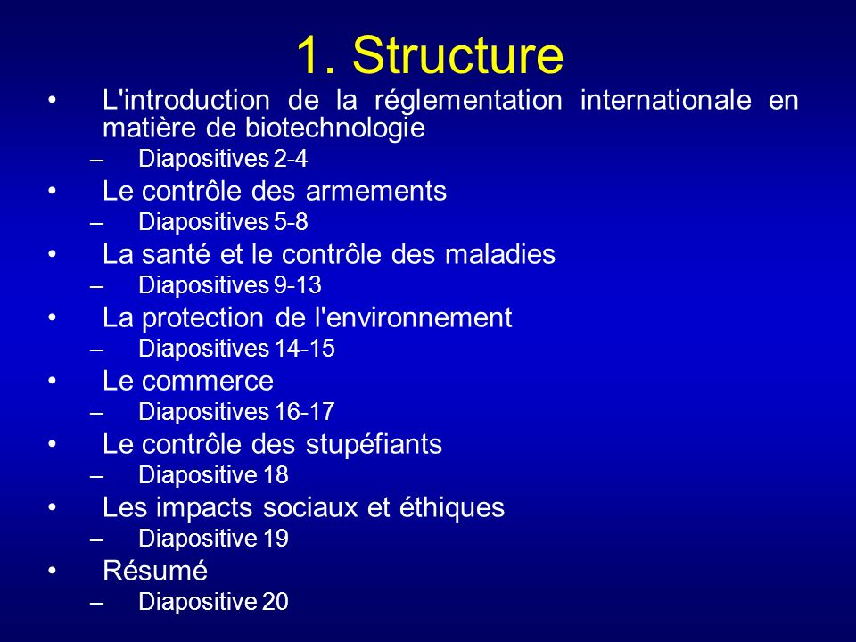 1. Structure L introduction de la réglementation internationale en matière de biotechnologie. Diapositives 2-4.