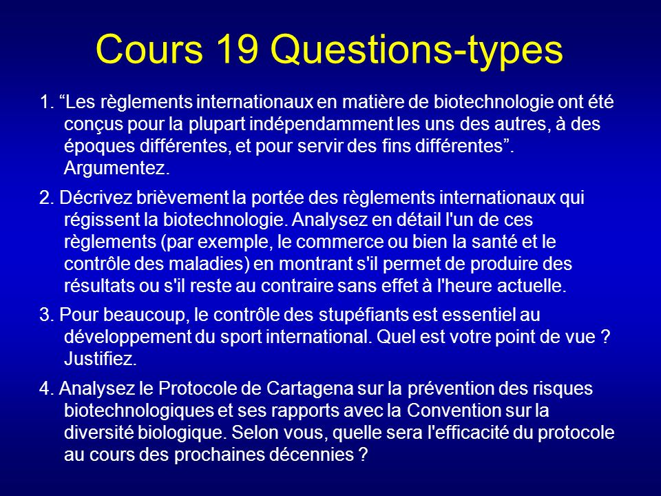 Cours 19 Questions-types