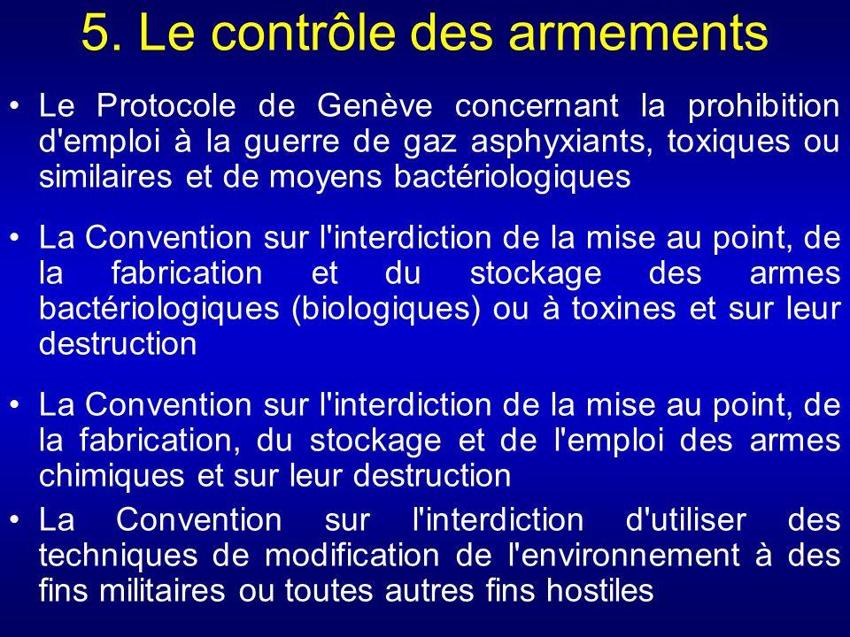 5. Le contrôle des armements