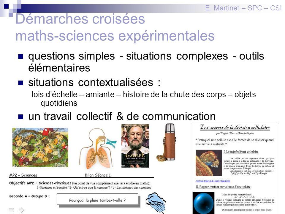 Démarches croisées maths-sciences expérimentales