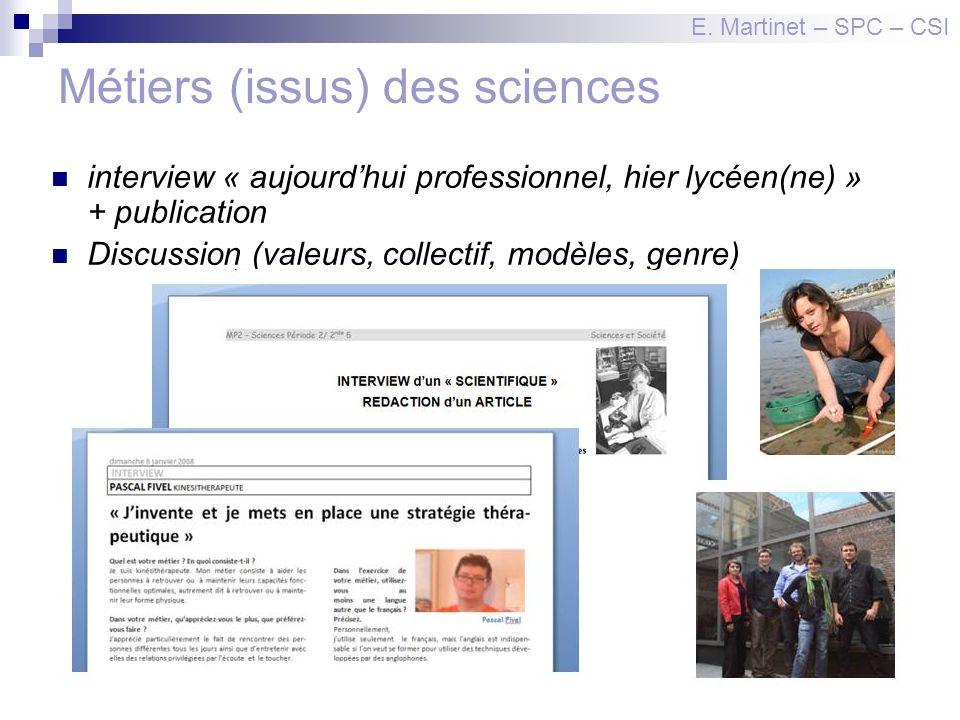 Métiers (issus) des sciences