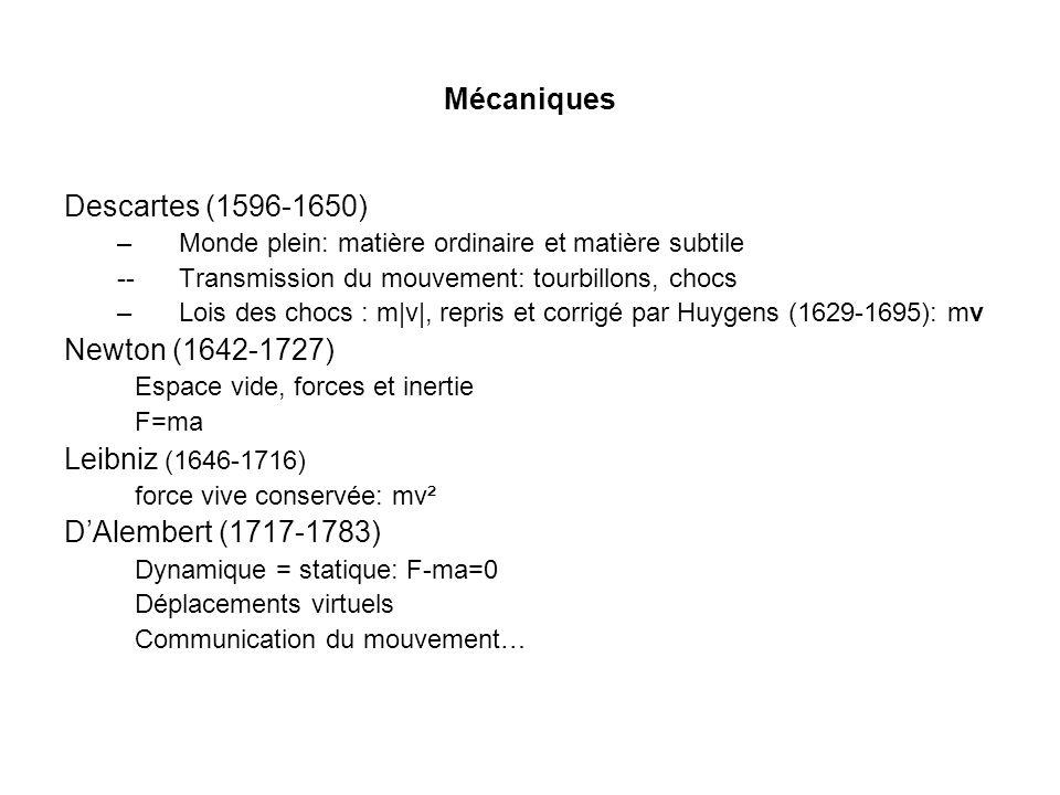 Mécaniques Descartes (1596-1650) Newton (1642-1727)