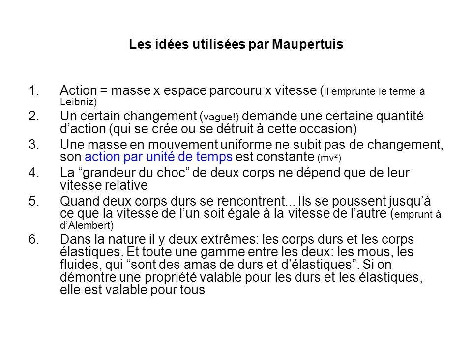 Les idées utilisées par Maupertuis