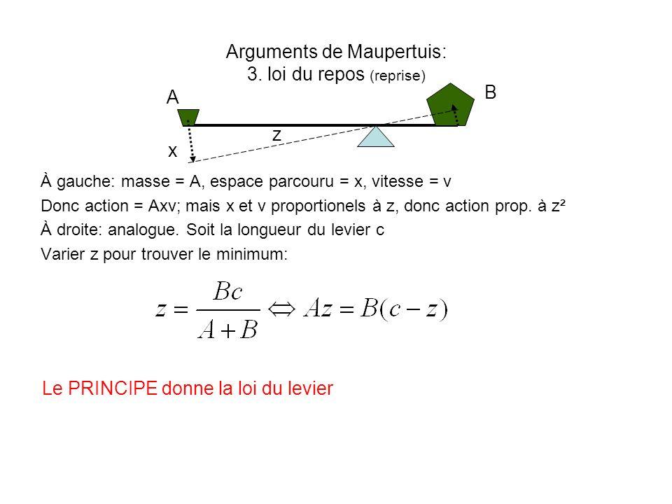 Arguments de Maupertuis: 3. loi du repos (reprise)