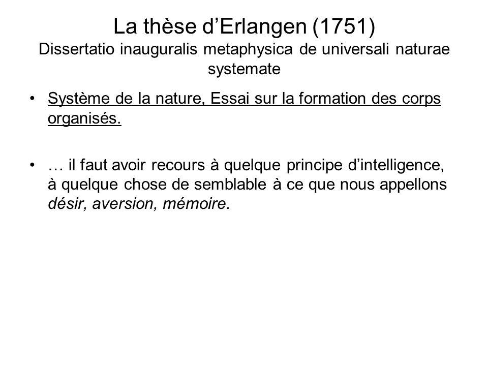 La thèse d'Erlangen (1751) Dissertatio inauguralis metaphysica de universali naturae systemate