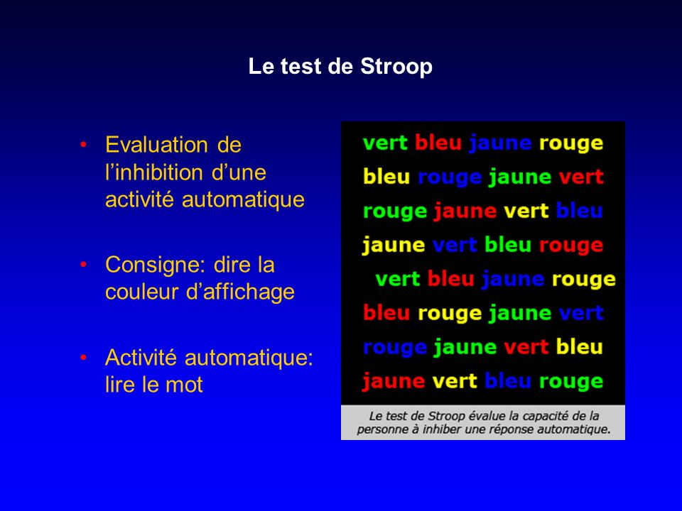 stroop test evaluation The color-word stroop paradigm is a neuropsychological test often employed for the evaluation of the cognitive processing when a conflict between different attributes.