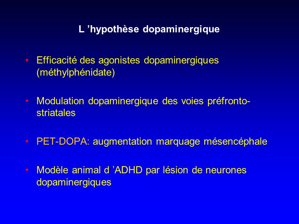 L 'hypothèse dopaminergique