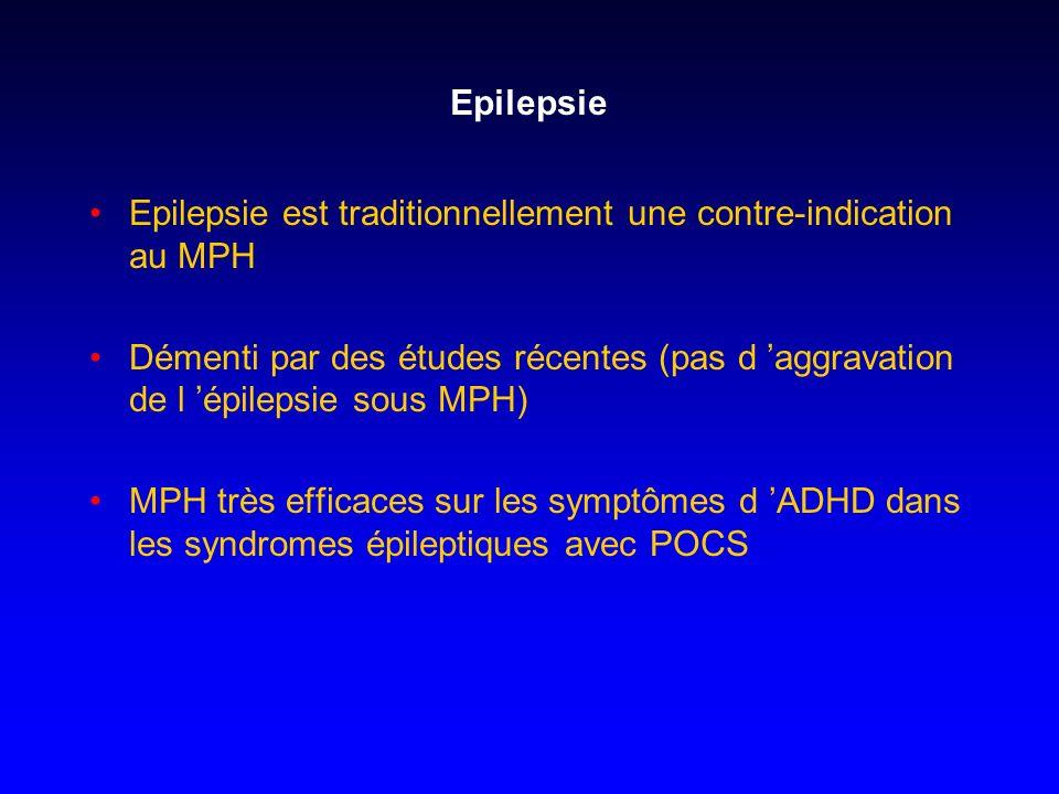 Epilepsie Epilepsie est traditionnellement une contre-indication au MPH.