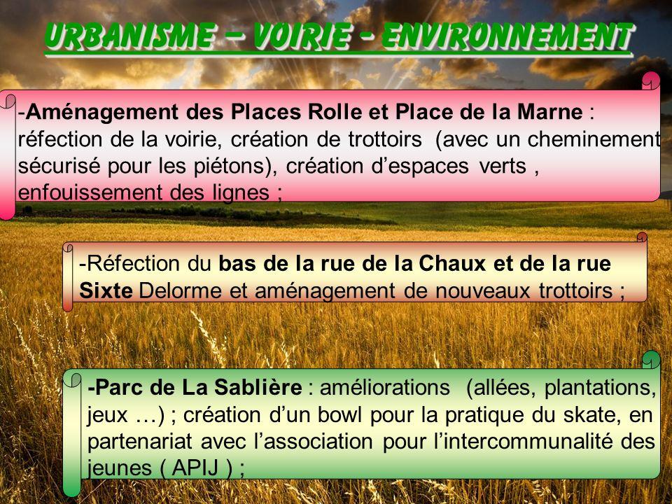 -Aménagement des Places Rolle et Place de la Marne : réfection de la voirie, création de trottoirs (avec un cheminement sécurisé pour les piétons), création d'espaces verts , enfouissement des lignes ;