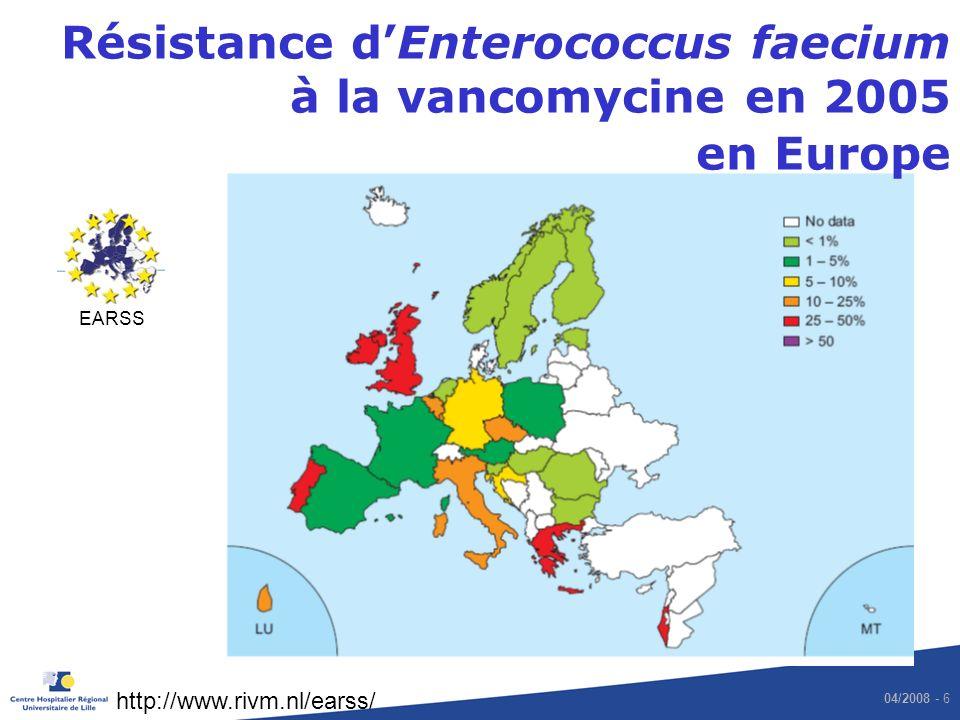 Résistance d'Enterococcus faecium à la vancomycine en 2005 en Europe