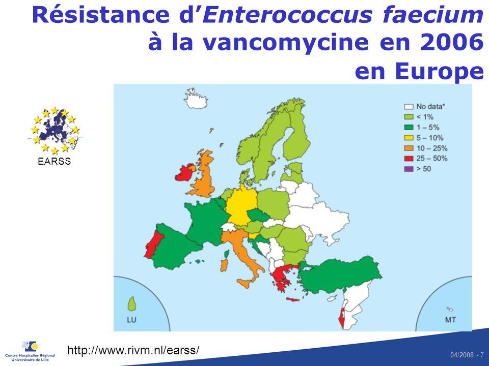 Résistance d'Enterococcus faecium à la vancomycine en 2006 en Europe