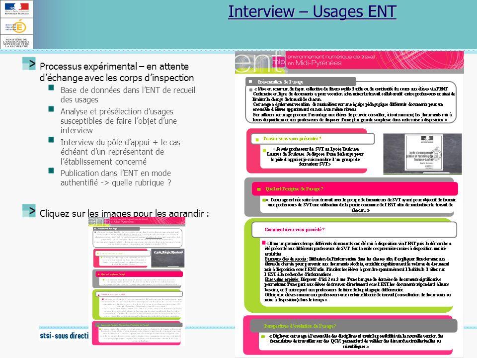 Interview – Usages ENT Processus expérimental – en attente d'échange avec les corps d'inspection. Base de données dans l'ENT de recueil des usages.